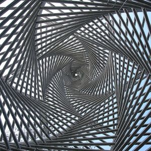 Sculpture at Platz der Synagoge as seen from the inside looking straight up. Göttingen, Germany.