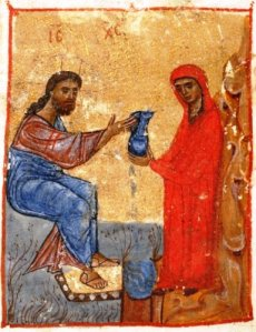 Jesus and the Samaritan Woman: Jruchi Gospels II MSS Georgia 12th cent.
